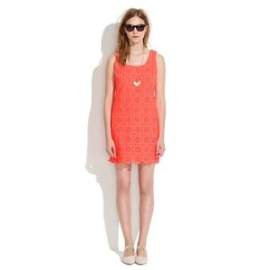 Madewell EYELET SUNFLOWER Dress Neon Coral Cotton